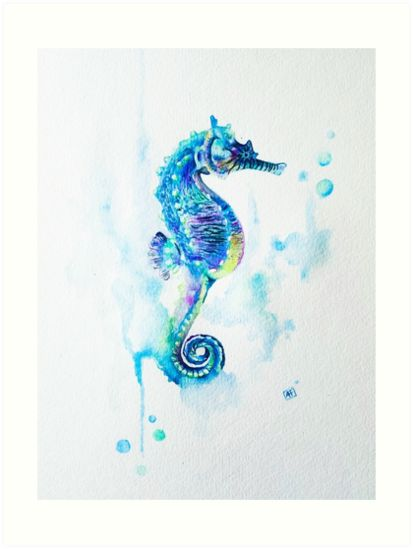 Seahorse de la acuarela sobre papel de acuarela • Millones de diseños originales hechos por artistas independientes.