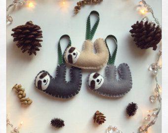 Hanging Handmade Felt Sloth Christmas Tree Nursery