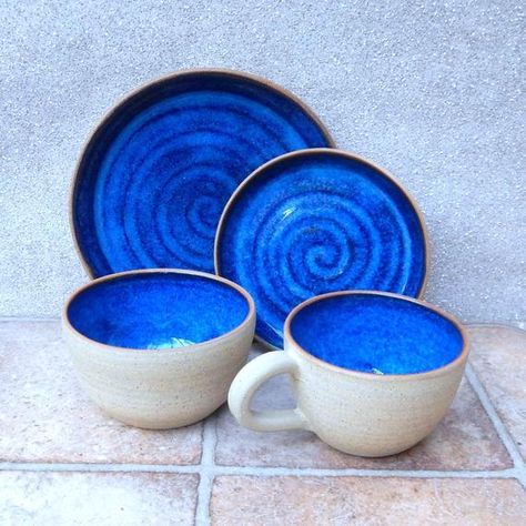 Bowl and plate set hand thrown in stoneware handmade pottery ceramic wheelthrown soup cereal noodle rice tea cake biscuit sandwich