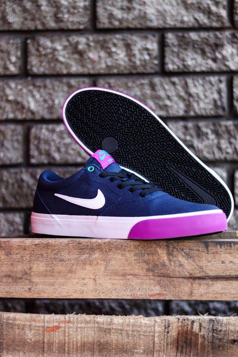 Nike SB Charge SLR Canvas Skate Shoes - Midnight Navy/White-Vivid ...