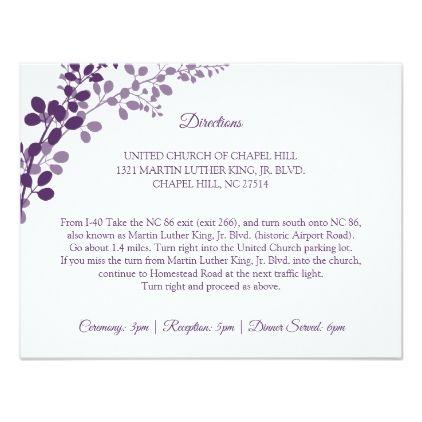 Wedding Directions Accommodations Purple Vines Enclosure Card Zazzle Com Wedding Directions Wedding Cards Wedding Invitation Cards