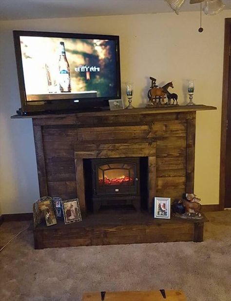 Pallet Fireplace with TV Stand - Easy Pallet Ideas