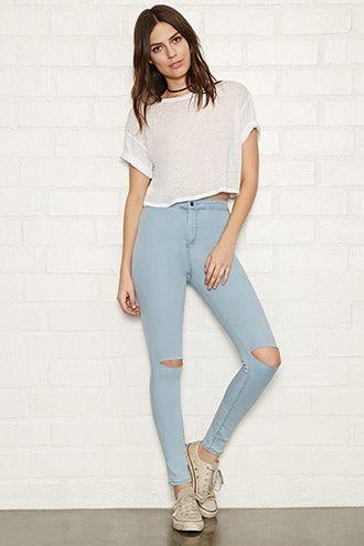 Jeans skinny rotos en 2019 | Pantalones mujer, Jeans super ...