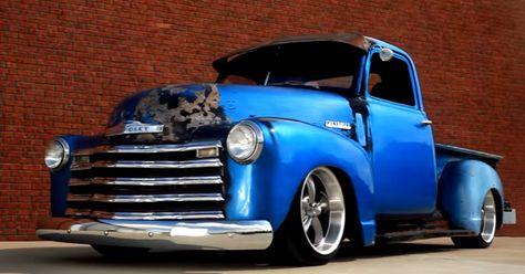 Slammed 1950 Chevrolet 3100 Patina Truck Up Close