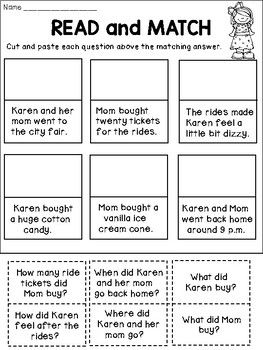 FREE Reading Comprehension Activities | Reading and Language Arts K