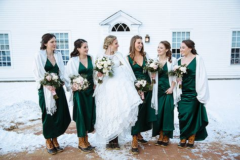 Meghann Gregory Photography » Blog L.L. Bean Boots, hunter green bridesmaid dresses, winter wedding, New England winter wedding, Oliver Wight Tavern, Old Sturbridge Village, L.L Bean Wedding