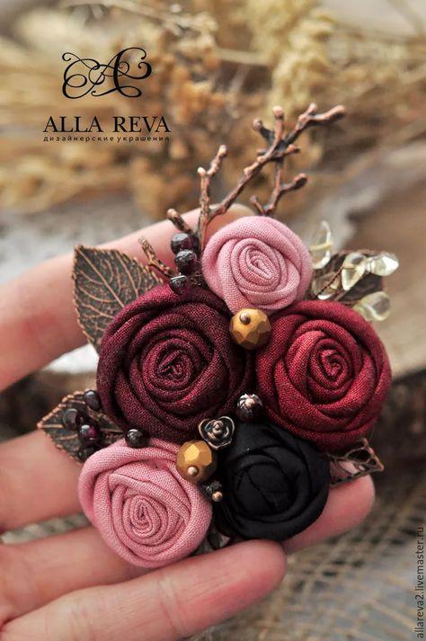 Felt brooch lapel flower feltflower brooch handmade wine red pink felt brooch