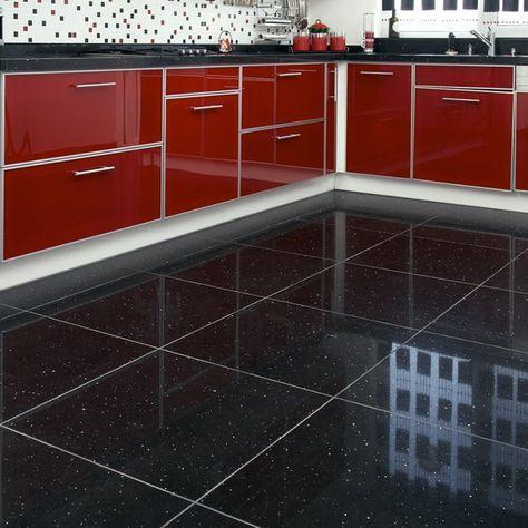 Black Gloss Floor Tiles With Glitter Black Kitchen Floor Tiles