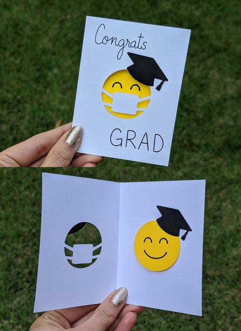 """Send a smile to your loved ones with this cute cut-out greeting card. This adorable mini card is inches and features a smiling face wearing a grad cap and a face mask with the text """"Congrats Grad. Kindergarten Graduation, Graduation Party Decor, Graduation Crafts, Graduation Ideas, Graduation Cards Funny, College Graduation Cards Handmade, Graduation Quotes, Graduation Announcements, Graduation Invitations"""