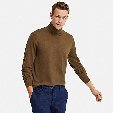 MEN EXTRA FINE MERINO TURTLENECK LONG SLEEVE SWEATER, BROWN