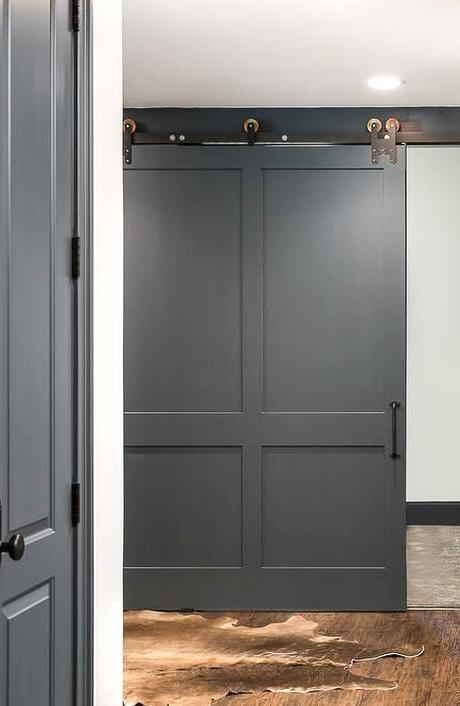 Charcoal Gray Basement Barn Door On Rails Transitional Basement In 2020 Room Door Design Gray Basement Barn Door Closet