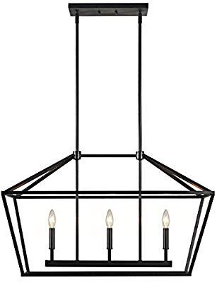 Motini 3 Light Kitchen Island Lantern Pendant Linear Chandelier Black Rod Hanging Light 32 X 12 X18 5 Ama In 2020 Linear Chandelier Hanging Lights Lantern Pendant