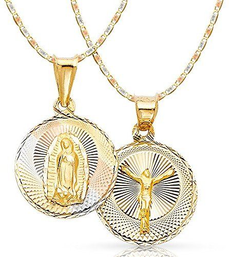 14k Tri Color Gold Religious Mary Guadlupe Stamp Charm Pendant