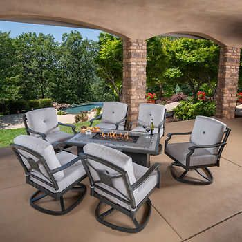 Westgate 7 Piece Cushion Fire Deep Seating Set Outdoor Fire Pit