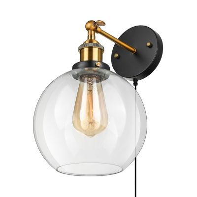 Clear Glass Globe Wall Light With Plug In Cord 1 Light Industrial Sconce Light In Black For Study Living Room Glass Light Fixture Wall Lights Glass Wall Lights