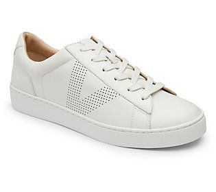 Vionic Leather Lace-Up Sneakers - Honey