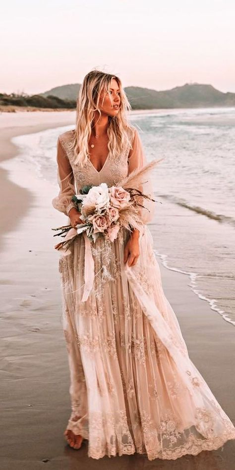 21 Amazing Boho Wedding Dresses With Sleeves Boho Beach Wedding