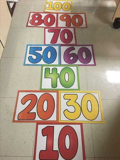 Skip counting for each pattern but start at zero, need a couple of bean bags, maybe try using foam mats, paper might crunch. school celebration Let's Celebrate the Day! Kindergarten Shirts, Kindergarten Activities, Teaching Math, Preschool Math, Counting Activities, 100 Days Of School, School Holidays, School Fun, 100s Day