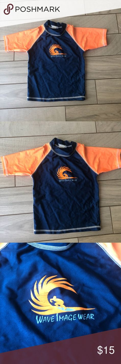 """Pacific connections boys swim shirt size medium Pacific connections Boys Swim shirt (or rash guard). Blue and orange. The center says """"wave image wear"""". Size medium. pacific connections Swim Rashguards"""