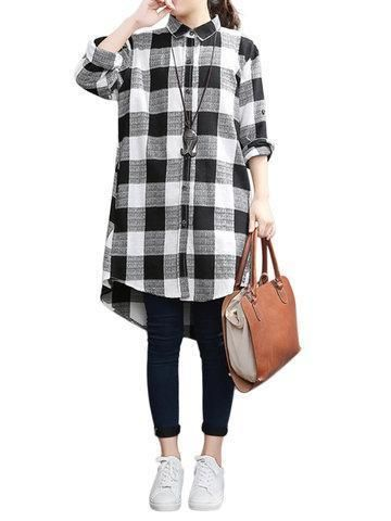bee608248ef Loose Plus Size Plaid Lapel Long Sleeve High Low Shirt For Women in ...