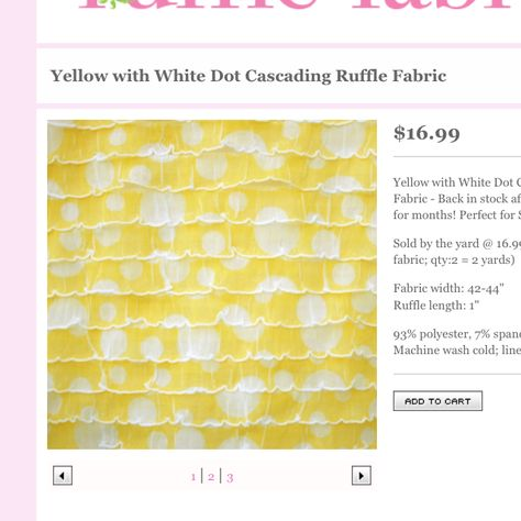 Yellow ruffle fabric with dots