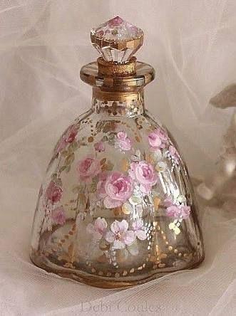 French Roses Felur-de-lis Perfume Bottle - Debi Coules Romantic Art Z Perfumes Vintage, Antique Perfume Bottles, Vintage Bottles, Bottle Art, Bottle Crafts, Beautiful Perfume, Glass Bottles, Patron Bottles, Vases
