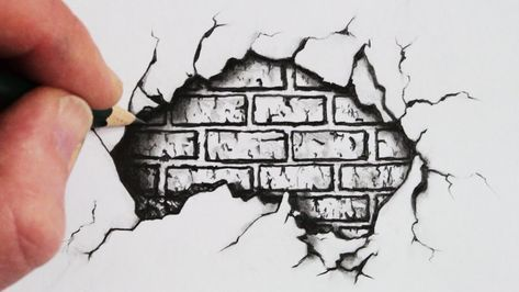 How To Draw A Cracked Brick Wall Pencil Drawing Youtube