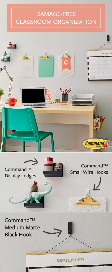 Easy Classroom Ideas with Command™ Brand Home Learning, Learning Spaces, Boutique Interior, Teacher Desk Organization, Organization Ideas, School Desks, Le Havre, Home Office Decor, Home Decor