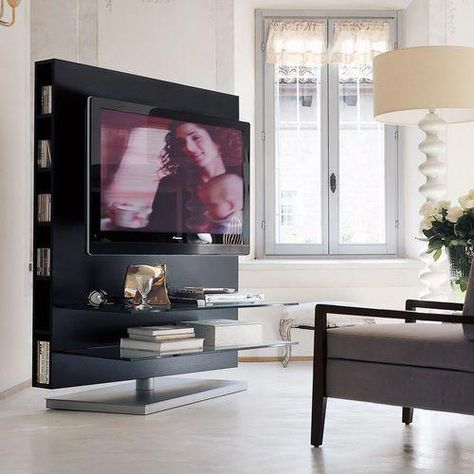 Support Tv Sur Pied Contemporain Pivotant Sol Plafond En Chene Comentarios Contemporary Tv Stands Tv Stand Living Room Colors