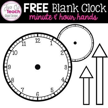 Free Blank Clock With Minute And Hour Hands Clipart In 2020 Time Worksheets Telling Time Worksheets Blank Clock