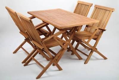 Point Garden Gartenmobel Set Teak Holz 1 Tisch Und 4 Point