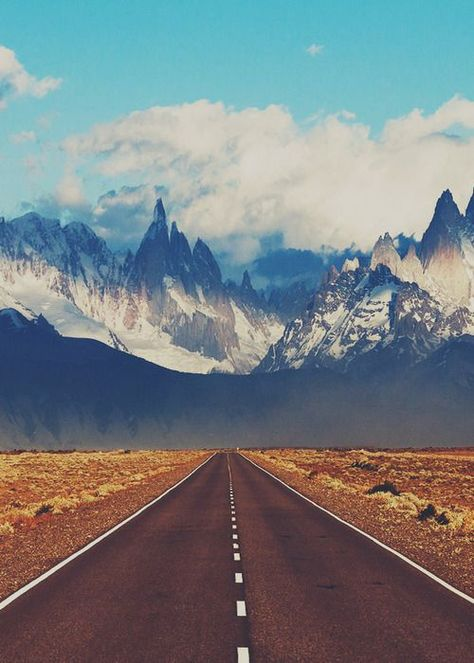 Road to El Chalten.   El Chaltén is a small mountain village in Santa Cruz Province, Argentina.