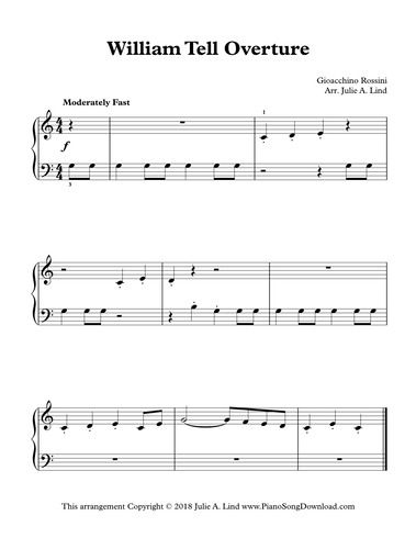 William Tell Overture Easy Classical Piano Arrangement To Print