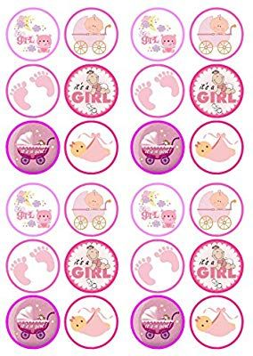 24 Edible Pink And White Elephant Rice Paper Cake Toppers