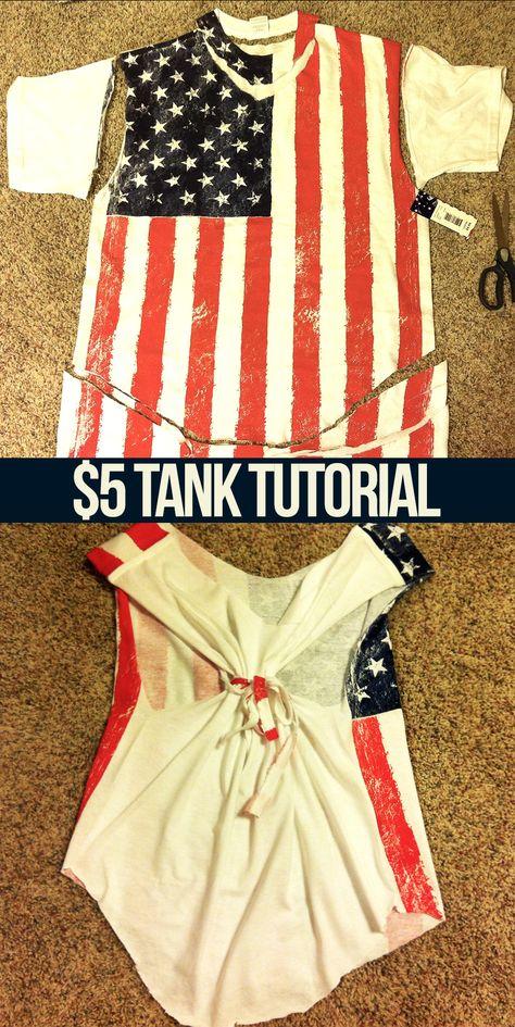 DIY American Flag Tank - tutorial included!