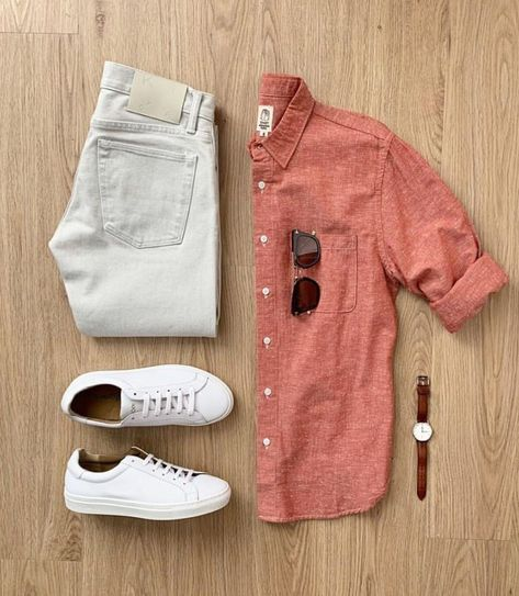 outfit grid Would you rock this outfit? Please rate this outfit below Jeans: Japanese Raw Denim Shoes: NMD Shirt: Mens Casual Dress Outfits, Formal Men Outfit, Stylish Summer Outfits, Denim Outfit, Basic Outfits, Casual Shirt, Casual Summer, Shirt Outfit, Mode Man