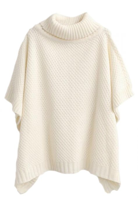Women's Casual Knit Turtleneck Loose Fit Poncho Sweater - AZBRO.com
