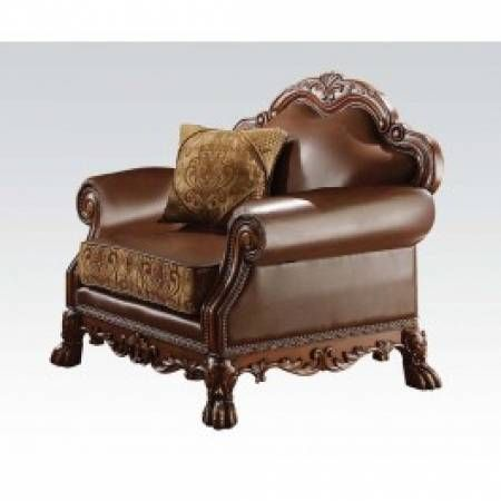 Acme Dresden Bycast Leather Chenille Living Room Set In Cherry