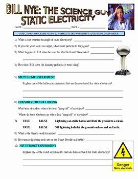 43 Bill Nye Static Electricity Worksheet In 2020 Static