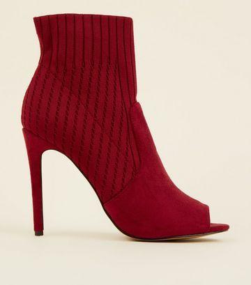 Dark Red Peep Toe Stiletto Sock Boots