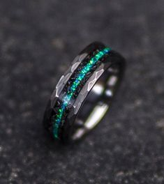 Tungsten carbide glow ring with turquoise inlay 6-millimeter Glow ring Men/'s ring Sizes 4-13 Tungsten ring Woman/'s ring Turquoise ring