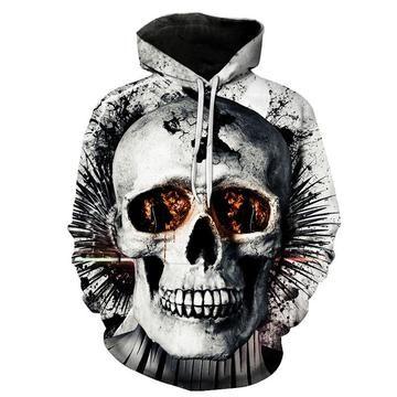 Broken White Skull Monster Black Hoodies Sweatshirt Funny 3D