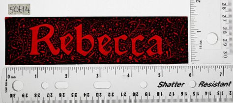 Stained Glass Window Fragment, Name, Rebecca, hand painted