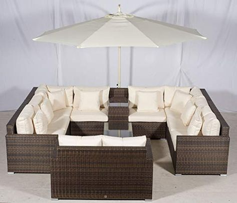 Set Giardino In Rattan.Giardino Havana 8 Seater Brown U Shaped Rattan Sofa Conversation