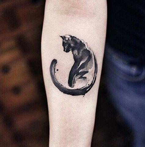 Black cat watercolour tattoo