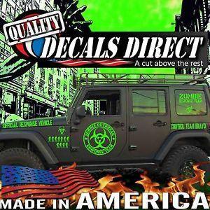 Zombies Outbreak Response Unit Walking Dead Novetly Car Van Stickers Decals