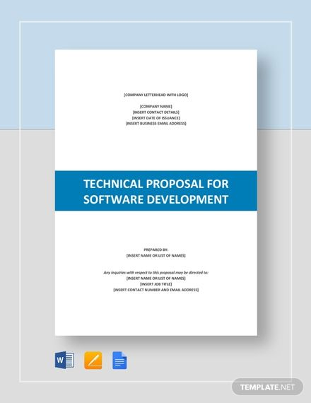 Technical Proposal For Software Development Template Word Doc Apple Mac Pages Google Docs Technical Proposal Proposal Software Software Development