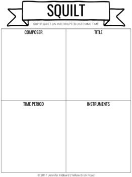 SQUILT: active listening worksheets for music | music