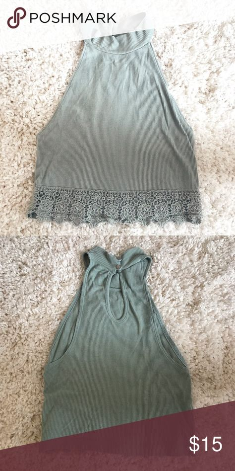 Forever21 Mint Top Cute mint green high neck top  Lace details on bottom  Bottoms in back Forever 21 Tops Crop Tops