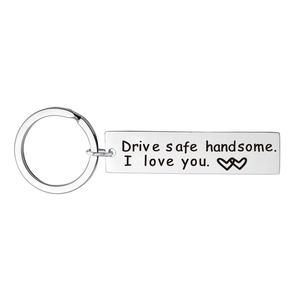 Fashion Keyring Gifts Engraved Drive Safe For Dad Car Keychain Metal Key Rings Women Men Friend Diy Key Chain Pendant Jewelry Couple Rings Women Rings Car Keychain